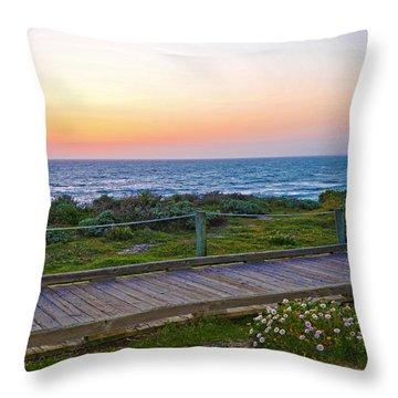 Moonstone Beach Boardwalk Throw Pillow by Lynn Bauer