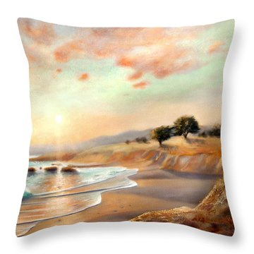 Moonstone Beach California Throw Pillow