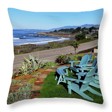 Throw Pillow featuring the photograph Moonstone Beach Seat With A View by Barbara Snyder