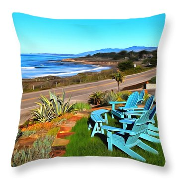 Throw Pillow featuring the photograph Moonstone Beach Seat With A View Digital Painting by Barbara Snyder