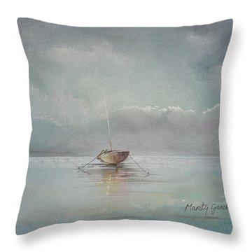 Moored Boat Throw Pillow by Marty Garland