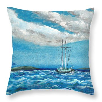 Throw Pillow featuring the painting Moored In The Bay by J R Seymour