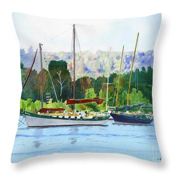 Throw Pillow featuring the painting Moored Ketch by LeAnne Sowa