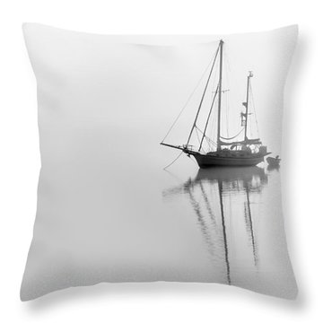 Moored On A Foggy Day Throw Pillow