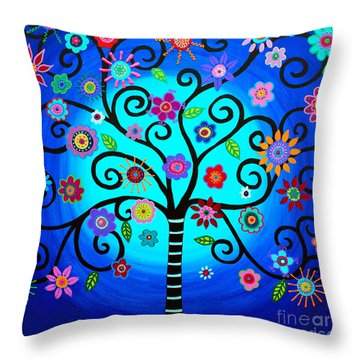 Throw Pillow featuring the painting Moore's Tree Of Life by Pristine Cartera Turkus