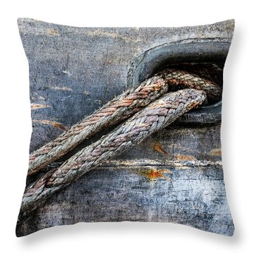 Mooring Lines In Blue Throw Pillow