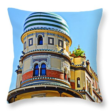 Moorish Tower With Hdr Processing Throw Pillow by Mary Machare