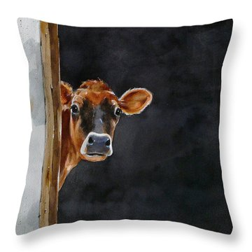 Moo's There? Throw Pillow by Art Scholz