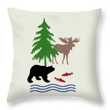 Moose And Bear Pattern Art Throw Pillow by Christina Rollo