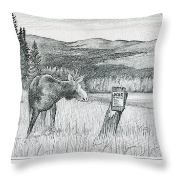 Moose At Big Brook Bog Throw Pillow