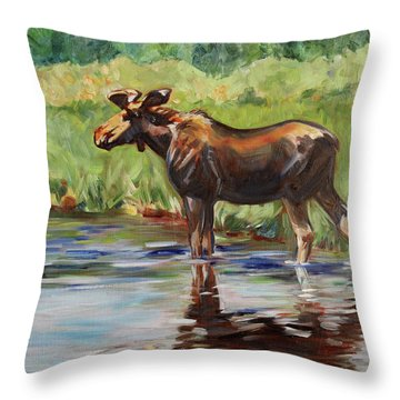 Moose At Henry's Fork Throw Pillow