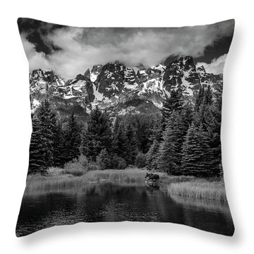 Moose At Schwabacher's Landing Throw Pillow