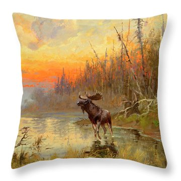 Moose At Sunset Throw Pillow
