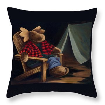Moose Camp Throw Pillow