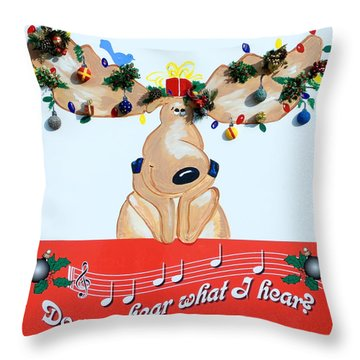 Moose Christmas Greeting Throw Pillow by Sally Weigand