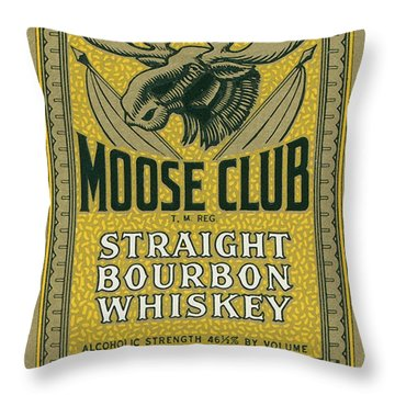 Moose Club Bourbon Label Throw Pillow