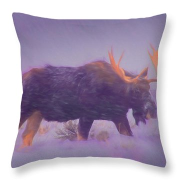 Moose In A Blizzard Throw Pillow