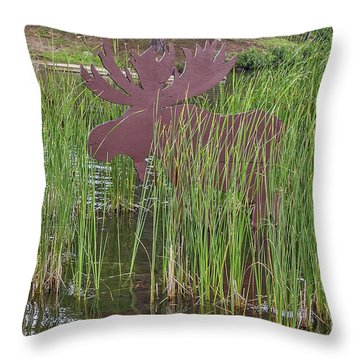 Throw Pillow featuring the photograph Moose In Bulrushes by Sue Smith