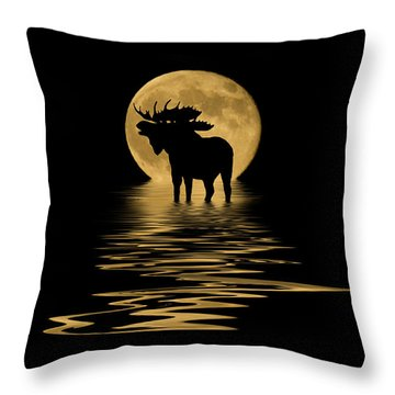 Moose In The Moonlight Throw Pillow