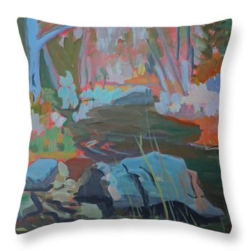 Moose Lips Brook Throw Pillow by Francine Frank