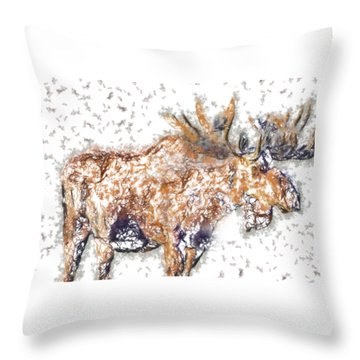 Moose-sticks Throw Pillow
