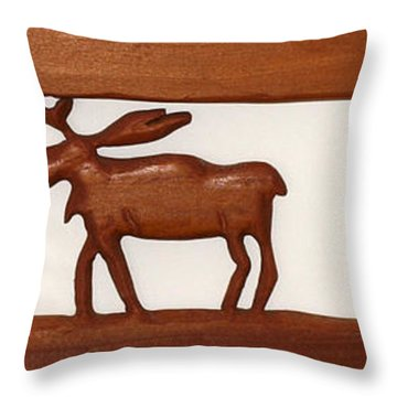 Throw Pillow featuring the mixed media Moose Walking Through The Forest by Robert Margetts