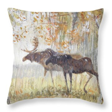 Mooses In The Autumn Woods Throw Pillow