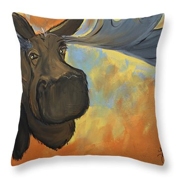 Moosying Along Throw Pillow