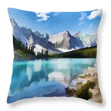 Moraine Lake At Banff National Park Throw Pillow by Lanjee Chee