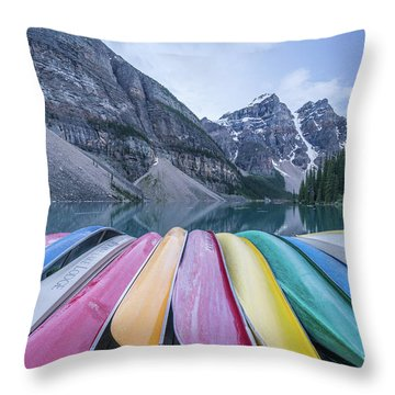 Moraine Lake Colors Throw Pillow