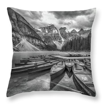 Moraine Lake In Black And White Throw Pillow