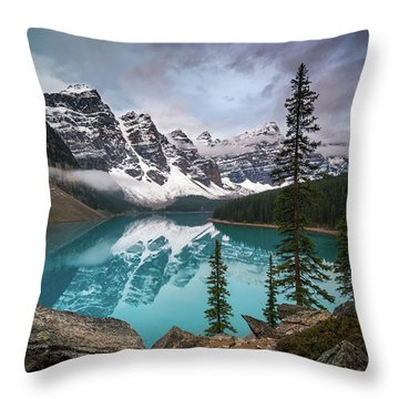 Moraine Lake In The Canadaian Rockies Throw Pillow