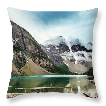 Moraine Lake In The Rain Throw Pillow