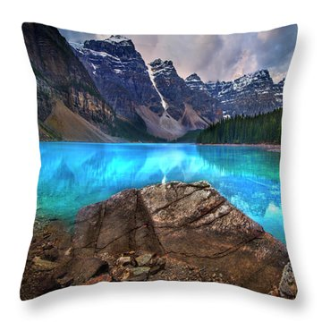Throw Pillow featuring the photograph Moraine Lake by John Poon