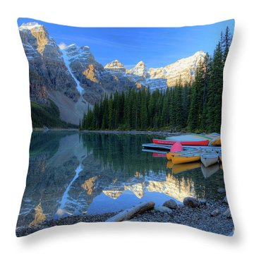Moraine Lake Sunrise Blue Skies Canoes Throw Pillow