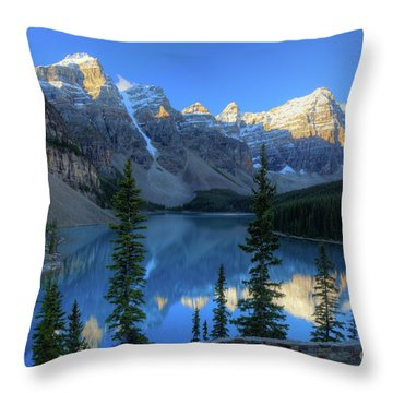 Moraine Lake Sunrise Blue Skies Throw Pillow
