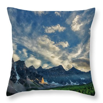 Moraine Lake Sunset - Golden Rays Throw Pillow
