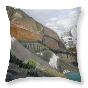 Throw Pillow featuring the painting Valley Of The Ten Peaks by Linda Feinberg
