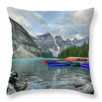Moraine Logs And Canoes Throw Pillow
