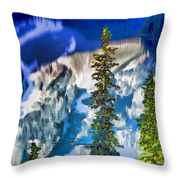 Moraine Reflections Throw Pillow by Dennis Cox WorldViews