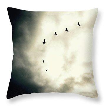 Big Sky Crows Throw Pillow
