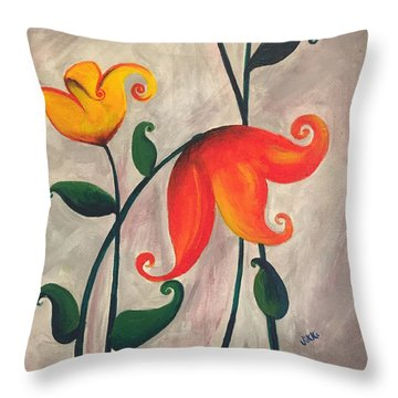 More Fun Flowers -b Throw Pillow