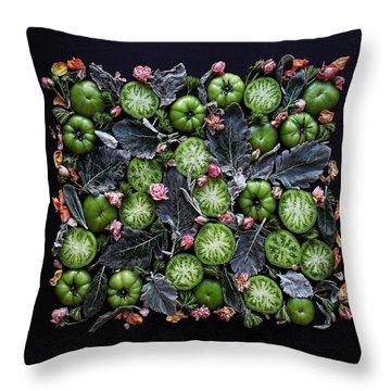 More Green Tomato Art Throw Pillow