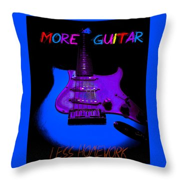 Throw Pillow featuring the photograph More Guitar Less Homework by Guitar Wacky