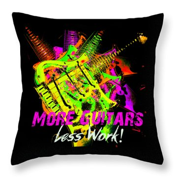 Throw Pillow featuring the photograph More Guitars  by Guitar Wacky