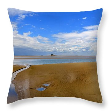 Morecambe Bay Cumbria Throw Pillow by Louise Heusinkveld