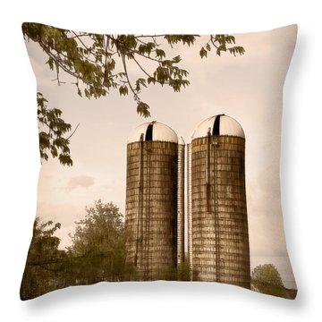 Morgan Dairy Grain Silos Throw Pillow
