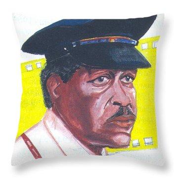 Throw Pillow featuring the painting Morgan Freeman by Emmanuel Baliyanga