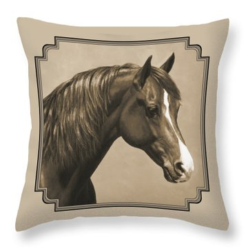 Morgan Horse Painting In Sepia Throw Pillow