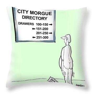 Throw Pillow featuring the digital art Morgue Directory by Mark Armstrong